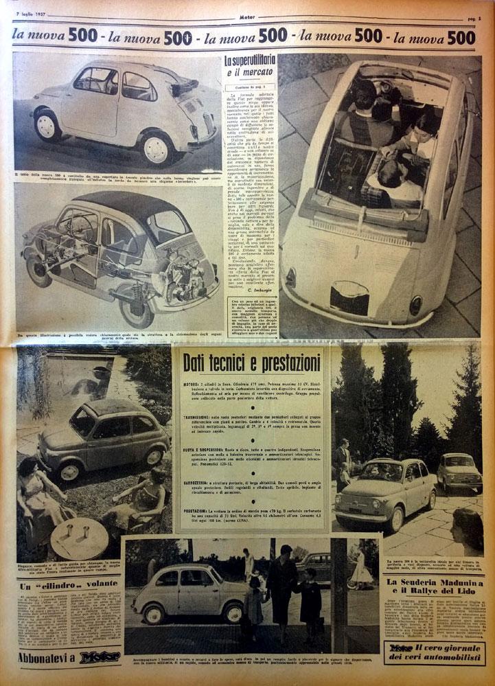 fiat 500 anche motor festeggia il suo 60esimo compleanno rivista motor. Black Bedroom Furniture Sets. Home Design Ideas